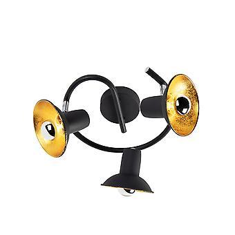 QAZQA Design katto paikalla musta kultapyöreä 3-valot - Avril