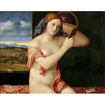 Young woman at her toilet,Giovanni Bellini,50x40cm