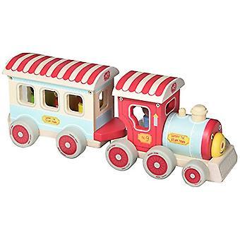 Tren de vapor Indigo Jamm Sammy - con 3 pasajeros de madera desmontables y un conductor del tren
