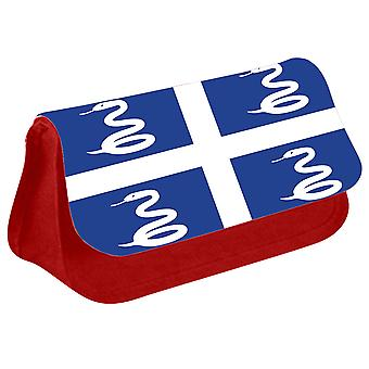 Martinique Flag Printed Design Pencil Case for Stationary/Cosmetic - 0222 (Red) by i-Tronixs