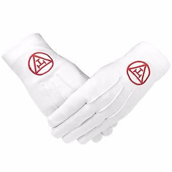Masonic Royal Arch 100% Cotton Gloves with Machine Embroidery