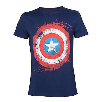 Captain America logo illustrasjoner mens T-skjorte mørk XX-Large Blue (TS180803MAR-2XL)