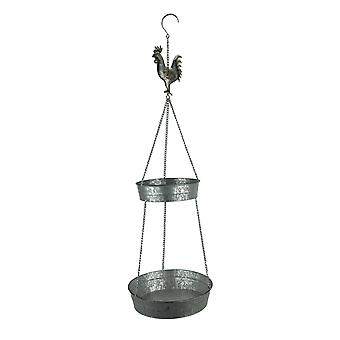 Metal Farmhouse Rooster 2 Tier Hanging Wild Bird Feeder Tray