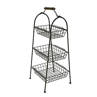 Rust Brown Metal Wire 3-Tier Basket Stand