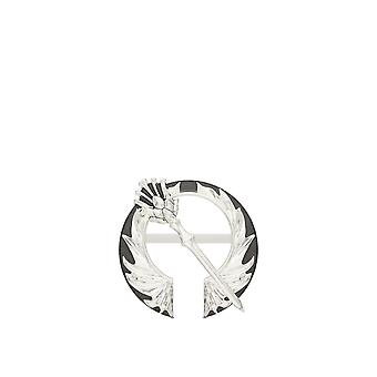 Outlander Thistle Open Circle Pin In White Gold In 14K White Gold