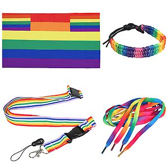TRIXES 4PC Rainbow Gay Pride Day Accessoires Set Adult Sized-Multicolour-Festivals Carnival LGBTQ Events