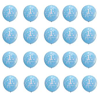 TRIXES 1ST Birthday Balloons for Baby Boy 20 Piece Blue Colour