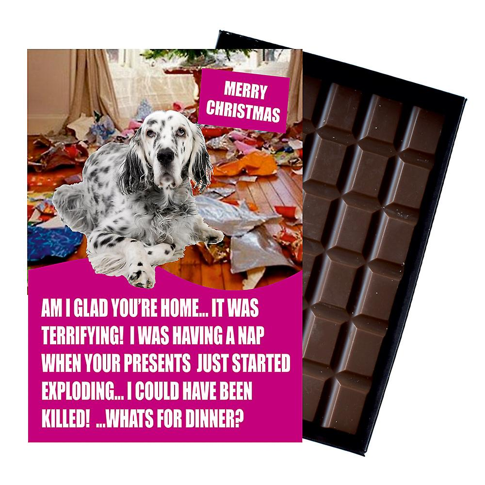 English Setter Funny Christmas Gift For Dog Lover Boxed Chocolate Greeting Card Xmas Present