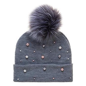 Beanie Cap - Cuff w/ Pearls and Faux Fur Pom New be6rjkplw