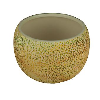 Yellow Ceramic Cantaloupe Fruit Decorative Planter