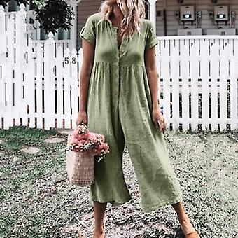 Short Sleeve Wide Leg  Overalls Loose Buttons  Plus Size