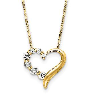 925 Sterling Argent Poli 14k Or Plaqué CZ Cubic Zirconia Simulated Diamond Love Heart Journey Necklace 18 Inch Spr