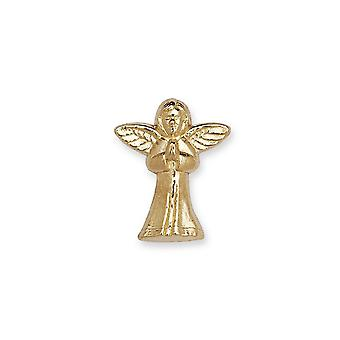 14k Yellow Gold Praying Religious Guardian Angel Lapel Pin 12x10mm Jewelry Gifts for Men - .6 Grams