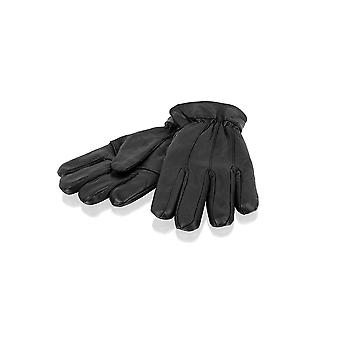 Mens Black Classic Stitch Detail Glove Leather Gloves