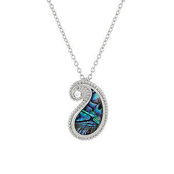 Eternal Collection Paisley Paua Shell And Crystal Silver Tone Pendant