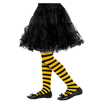 Meisjes Bee Stripe panty zwart & geel Fancy Dress accessoire
