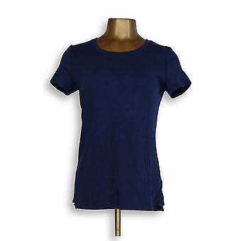 Isaac Mizrahi Live! Women's Top S Essentials Scoop-Neck Top Blue A353156