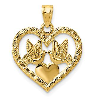 14k Yellow Gold Flat Polished Textured back Two Doves In Heart Pendant Jewelry Gifts for Women