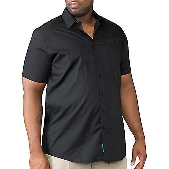 Duke D555 Mens Aeron Big Tall King Size Short Sleeve Buttoned Shirt Top - Black