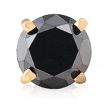 3/4ct الماس الأسود قرط واحد مسمار 14K الذهب الأصفر