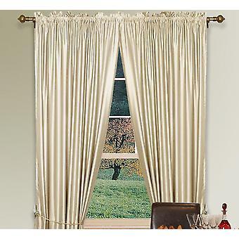 Ivory Faux Silk Curtain W/ Hi-Density Polyester Silk Fabric