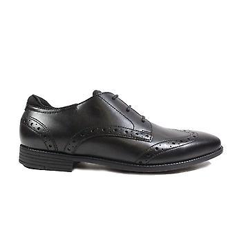 Startrite Tailor musta nahka pojat pitsi ylös Brogue koulu kengät