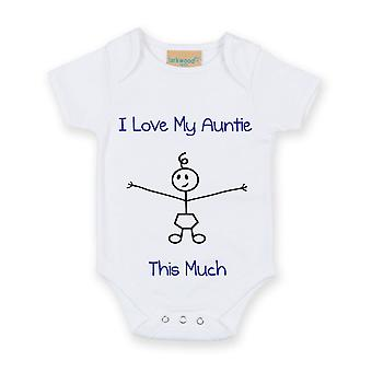I Love My Auntie This Much Boys White Baby Grow