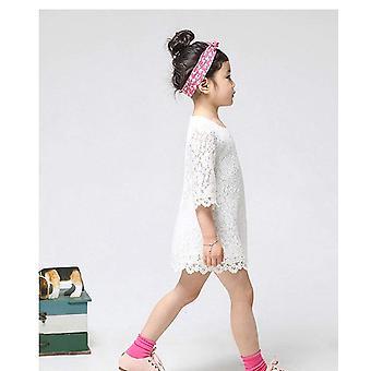 EGELEXY Princess Kids Girls Half Sleeve Flower Lace Dress (140 For 6-7Years, ...