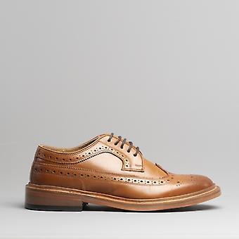 Kensington Luis Mens Leather Brogue Derby Shoes Tan