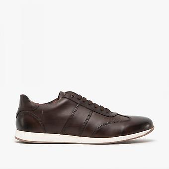 Base London Sonic Mens Leather Casual Trainers Washed Brown