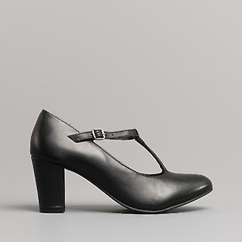 Comfort Plus Naomi Ladies Leather T-bar Court Shoes Black