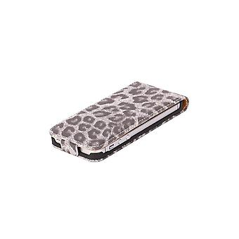 Luxury Grey Leopard Pattern Cover Vertical Opening For IPhone 5