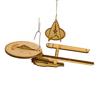 Crafts - boldly go christmas ornament- raw wood art kit 2x5x1in