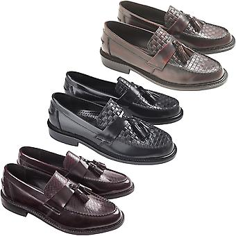 Ikon Mens Weaver Smart Casual Tassled Slip On Loafers Shoes - Black