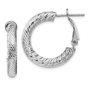 14k 4x15 White Gold Sparkle Cut Round Omega Back Hoop Earrings Jewelry Gifts for Women - 3.2 Grams