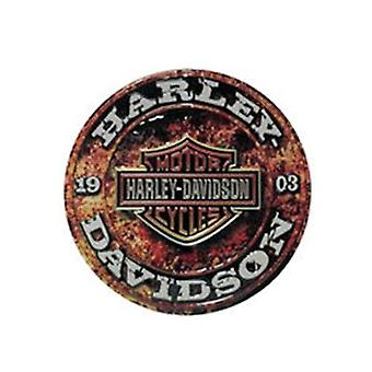 Harley davidson stone rust round die cut embossed tin sign