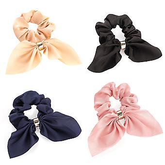 4.5cm Tail Design Elasticated Hair Scrunchies with Gold Coloured Ring various Colours