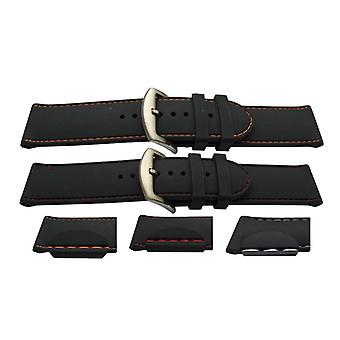 Rubber watch strap black with coloured stitching smooth heavy duty 24mm