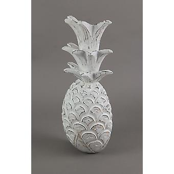 15.5 Inch White Pineapple Hanging Wall Art Carved Wood Sculpture Home Decor