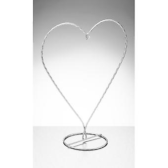 Sienna Glass Heart Shaped Display Stand, Silver