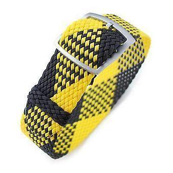 Strapcode fabric watch strap 20mm miltat perlon watch strap, black & yellow, sandblasted ladder lock slider buckle