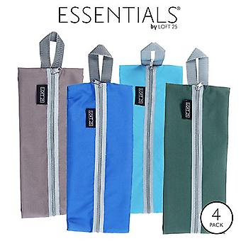 Essentials by Loft 25 Waterproof Travel Luggage Organiser Shoe Bags with Zipper - Pack of 4 (Turquoise, Royal, Grey, Green)