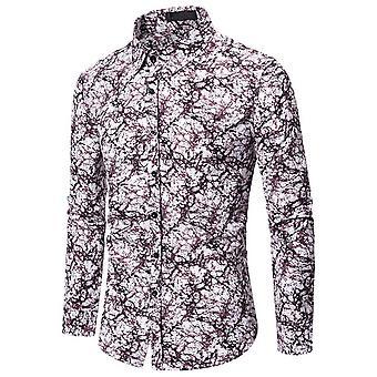Allthemen Men's Dress Shirt Printed Long Sleeve T-shirt for Party