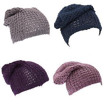 Ladies/Womens Heavy Knit Slouch Beanie Hat