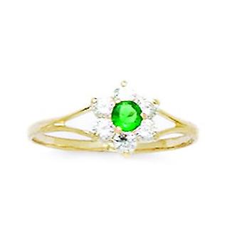14k Yellow Gold Dark Green CZ Cubic Zirconia Simulated Diamond Size 5.5 Flower for boys or girls Ring
