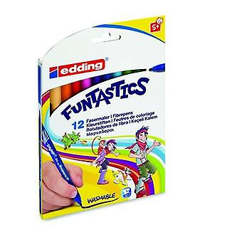 edding-15 أقلام الألياف Funtastics 1mm assorti 12 لونا 4-15-12