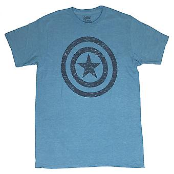 Captain America Distressed Shield Blue T-Shirt