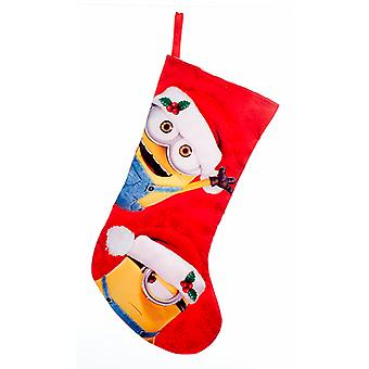 Kurt Adler Despicable Me Minions Wearing Santa Hats Red  Holiday Stocking