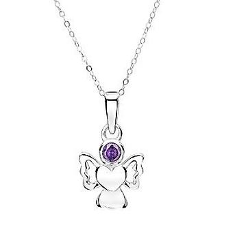 Jo For Girls Sterling Silver Angel Hanger gesimuleerd februari Birthstone 14