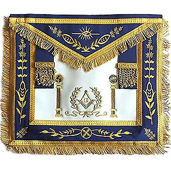 Navy apron master mason square g & pillars freemasons gold fringe